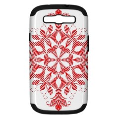 Red Pattern Filigree Snowflake On White Samsung Galaxy S III Hardshell Case (PC+Silicone)