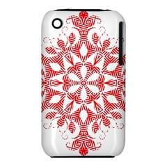 Red Pattern Filigree Snowflake On White iPhone 3S/3GS