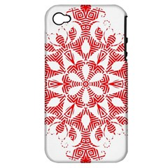 Red Pattern Filigree Snowflake On White Apple Iphone 4/4s Hardshell Case (pc+silicone)