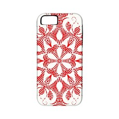 Red Pattern Filigree Snowflake On White Apple Iphone 5 Classic Hardshell Case (pc+silicone)