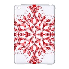Red Pattern Filigree Snowflake On White Apple Ipad Mini Hardshell Case (compatible With Smart Cover)