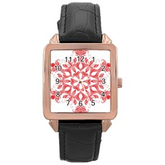 Red Pattern Filigree Snowflake On White Rose Gold Leather Watch