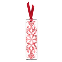 Red Pattern Filigree Snowflake On White Small Book Marks