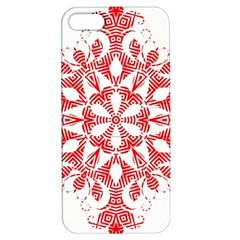 Red Pattern Filigree Snowflake On White Apple Iphone 5 Hardshell Case With Stand