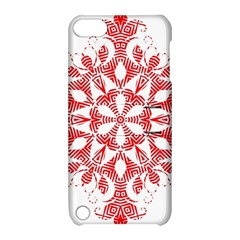 Red Pattern Filigree Snowflake On White Apple iPod Touch 5 Hardshell Case with Stand