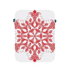 Red Pattern Filigree Snowflake On White Apple Ipad 2/3/4 Protective Soft Cases