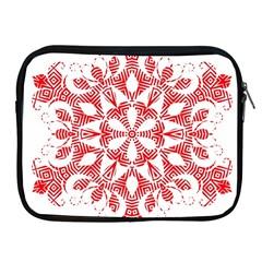 Red Pattern Filigree Snowflake On White Apple Ipad 2/3/4 Zipper Cases