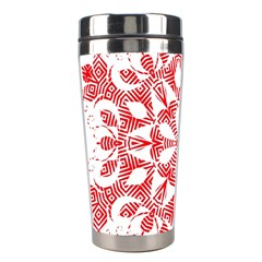 Red Pattern Filigree Snowflake On White Stainless Steel Travel Tumblers
