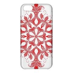 Red Pattern Filigree Snowflake On White Apple Iphone 5c Hardshell Case
