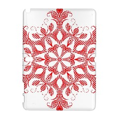 Red Pattern Filigree Snowflake On White Galaxy Note 1