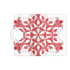 Red Pattern Filigree Snowflake On White Kindle Fire Hd (2013) Flip 360 Case