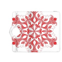 Red Pattern Filigree Snowflake On White Kindle Fire HDX 8.9  Flip 360 Case
