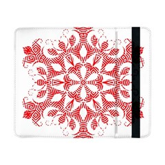 Red Pattern Filigree Snowflake On White Samsung Galaxy Tab Pro 8 4  Flip Case