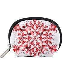 Red Pattern Filigree Snowflake On White Accessory Pouches (small)