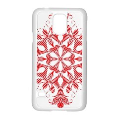 Red Pattern Filigree Snowflake On White Samsung Galaxy S5 Case (white)