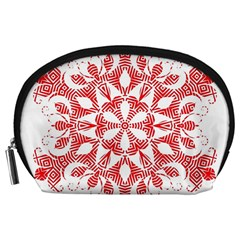 Red Pattern Filigree Snowflake On White Accessory Pouches (Large)