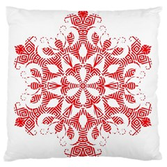 Red Pattern Filigree Snowflake On White Large Flano Cushion Case (two Sides)