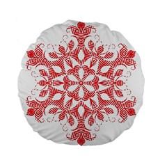 Red Pattern Filigree Snowflake On White Standard 15  Premium Flano Round Cushions