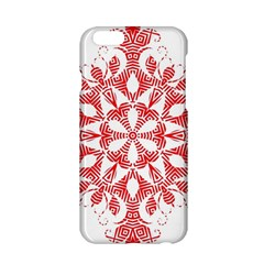 Red Pattern Filigree Snowflake On White Apple Iphone 6/6s Hardshell Case