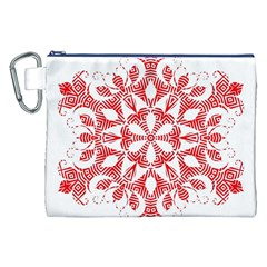 Red Pattern Filigree Snowflake On White Canvas Cosmetic Bag (xxl)