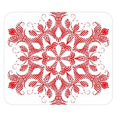 Red Pattern Filigree Snowflake On White Double Sided Flano Blanket (Small)