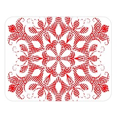 Red Pattern Filigree Snowflake On White Double Sided Flano Blanket (Large)