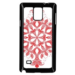 Red Pattern Filigree Snowflake On White Samsung Galaxy Note 4 Case (black)