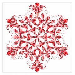 Red Pattern Filigree Snowflake On White Large Satin Scarf (square)
