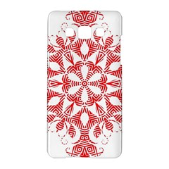 Red Pattern Filigree Snowflake On White Samsung Galaxy A5 Hardshell Case
