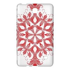Red Pattern Filigree Snowflake On White Samsung Galaxy Tab 4 (7 ) Hardshell Case