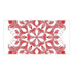 Red Pattern Filigree Snowflake On White Satin Shawl