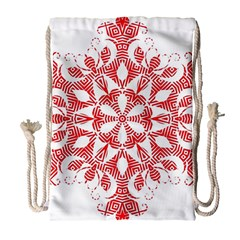 Red Pattern Filigree Snowflake On White Drawstring Bag (large)