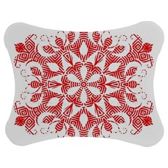 Red Pattern Filigree Snowflake On White Jigsaw Puzzle Photo Stand (bow)