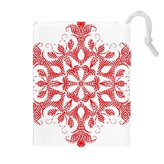Red Pattern Filigree Snowflake On White Drawstring Pouches (Extra Large)