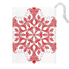 Red Pattern Filigree Snowflake On White Drawstring Pouches (xxl)