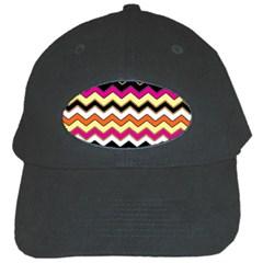 Colorful Chevron Pattern Stripes Black Cap