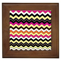 Colorful Chevron Pattern Stripes Framed Tiles