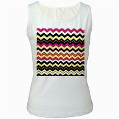 Colorful Chevron Pattern Stripes Women s White Tank Top
