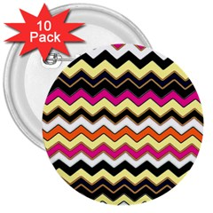 Colorful Chevron Pattern Stripes 3  Buttons (10 pack)
