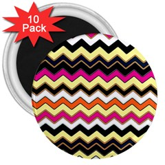 Colorful Chevron Pattern Stripes 3  Magnets (10 Pack)