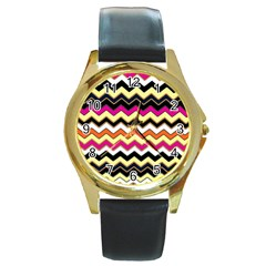 Colorful Chevron Pattern Stripes Round Gold Metal Watch