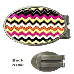 Colorful Chevron Pattern Stripes Money Clips (oval)