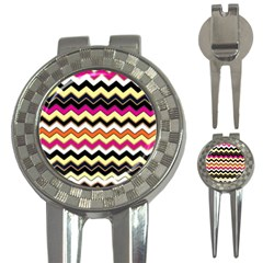Colorful Chevron Pattern Stripes 3-in-1 Golf Divots
