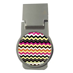 Colorful Chevron Pattern Stripes Money Clips (Round)