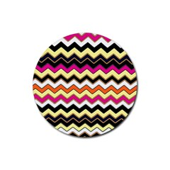 Colorful Chevron Pattern Stripes Rubber Coaster (round)