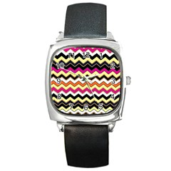 Colorful Chevron Pattern Stripes Square Metal Watch