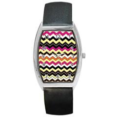 Colorful Chevron Pattern Stripes Barrel Style Metal Watch
