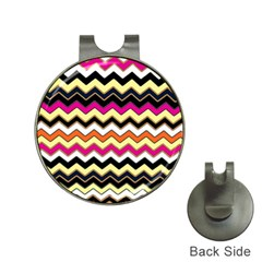 Colorful Chevron Pattern Stripes Hat Clips With Golf Markers