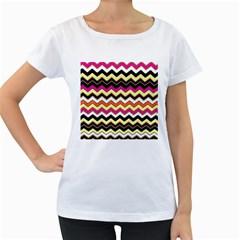 Colorful Chevron Pattern Stripes Women s Loose Fit T Shirt (white)