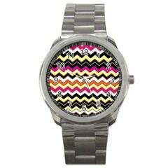 Colorful Chevron Pattern Stripes Sport Metal Watch